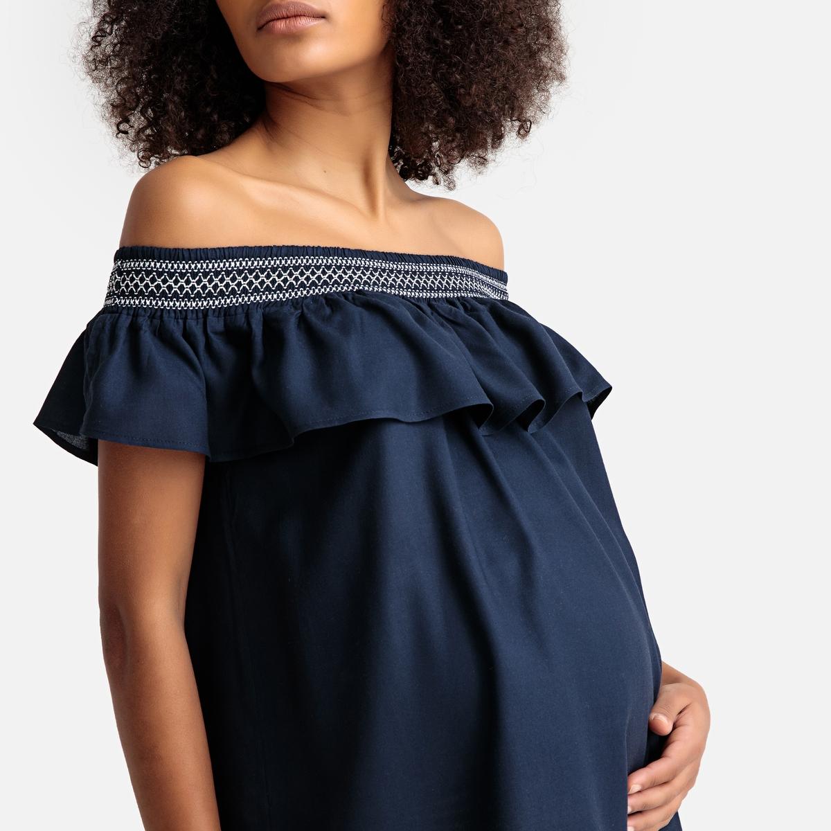 Блузка La Redoute Для периода беременности с открытыми плечами 36 (FR) - 42 (RUS) синий трусы la redoute для периода беременности шт 34 36 fr 40 42 rus белый