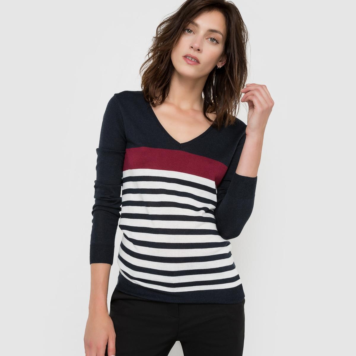 Пуловер с V-образным вырезом в полоску из смешанной ткани с шерстью