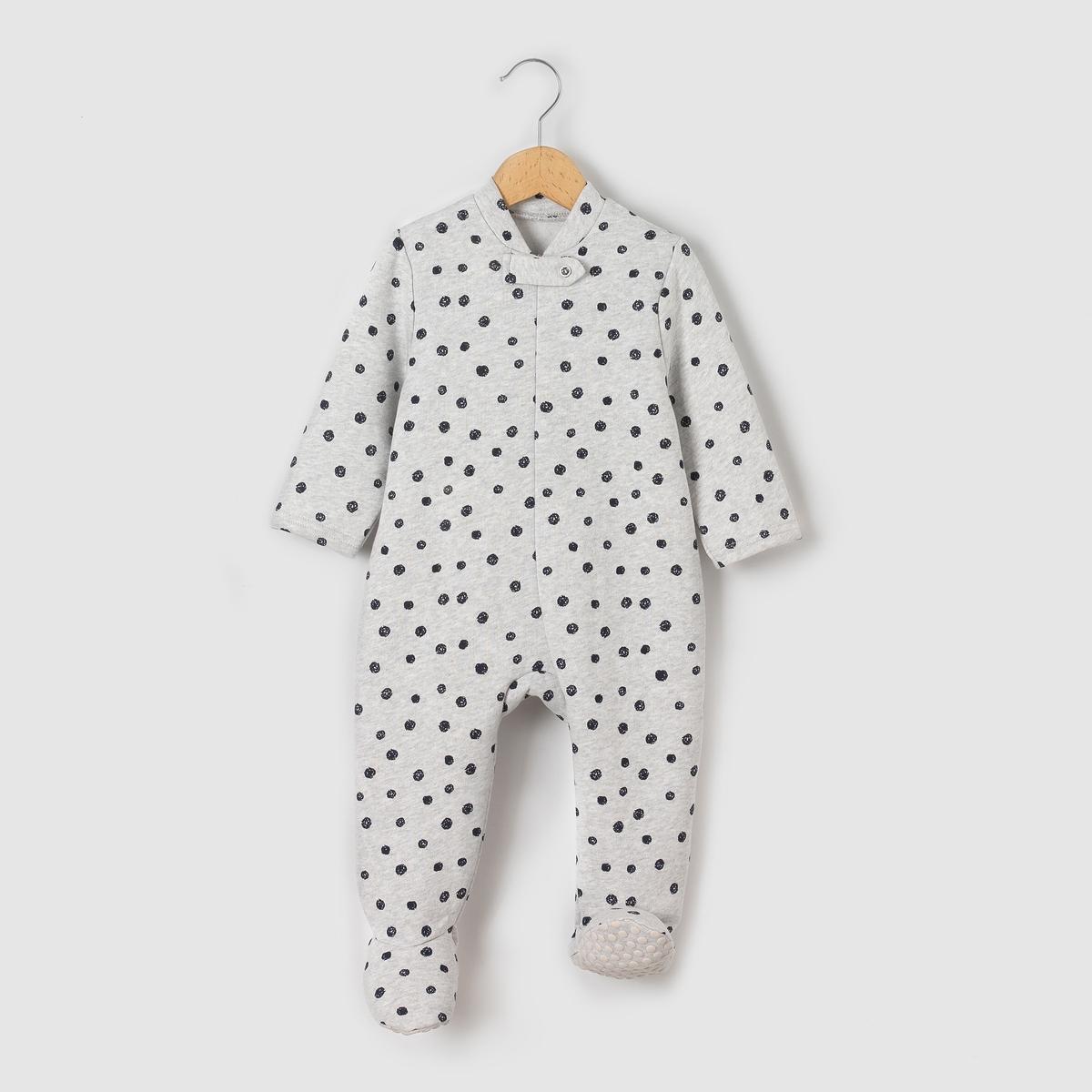 Пижама-комбинезон из мольтона с рисунком горох 0 мес-3 лет пижамы и ночные сорочки bambinizon пижама комбинезон на кнопках сафари