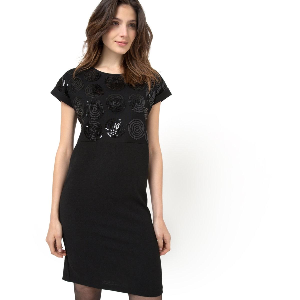 Платье с короткими рукавами, верх с пайетками