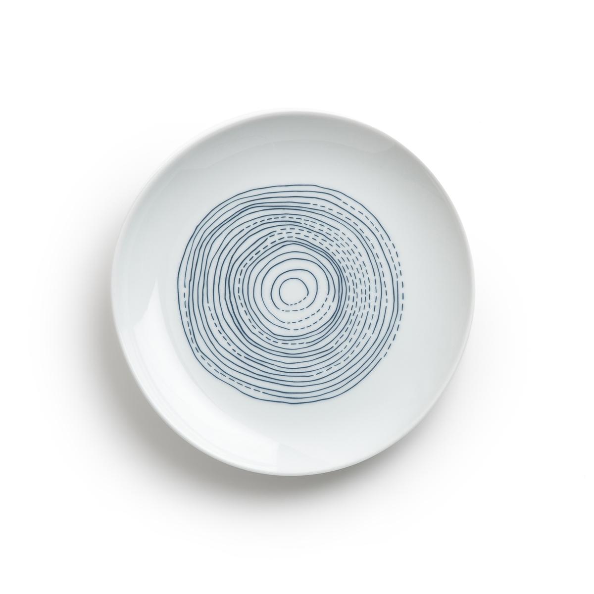 Комплект из 4 десертных тарелок из фарфора ?17,5 см, Agaxan4 десертные тарелки Agaxan. Органическая форма и изящный рисунок в виде неровных линий синего цвета. Из глазурованного фарфора. Размеры: ?17,5 см. Можно использовать в посудомоечных машинах и микроволновых печах. Сделано в Португалии. Мелкая тарелка и чашка того же комплекта представлены на нашем сайте.<br><br>Цвет: синий/ белый