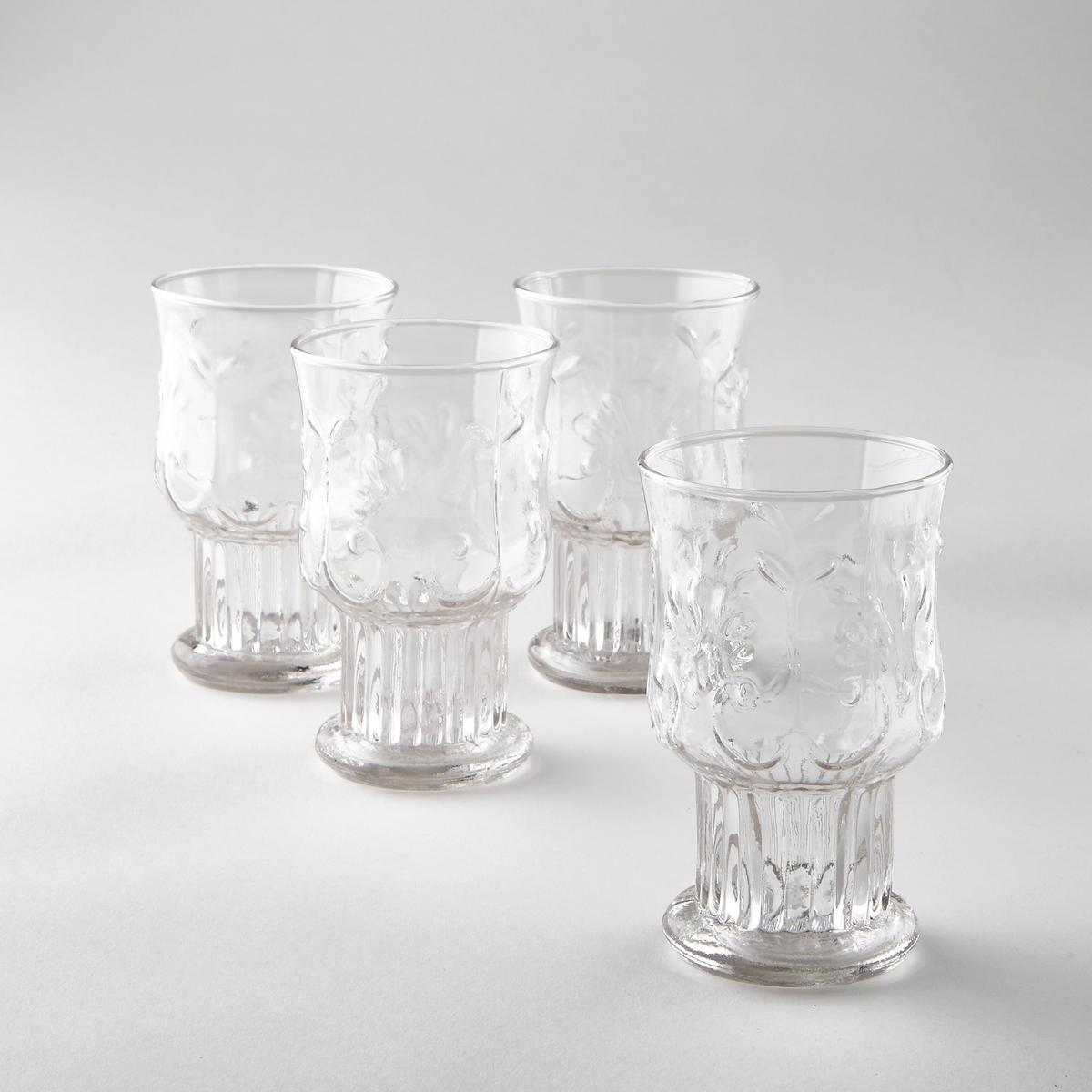 Комплект из 4 бокалов для воды Uzzeni4 бокала для воды Uzzeni. Красивый рисунок арабеска, широкая удобная ножка. Из стекла. Размеры: диаметр вверху 7,8, диаметр внизу 5,5 x высота 12,8 см.<br><br>Цвет: прозрачный