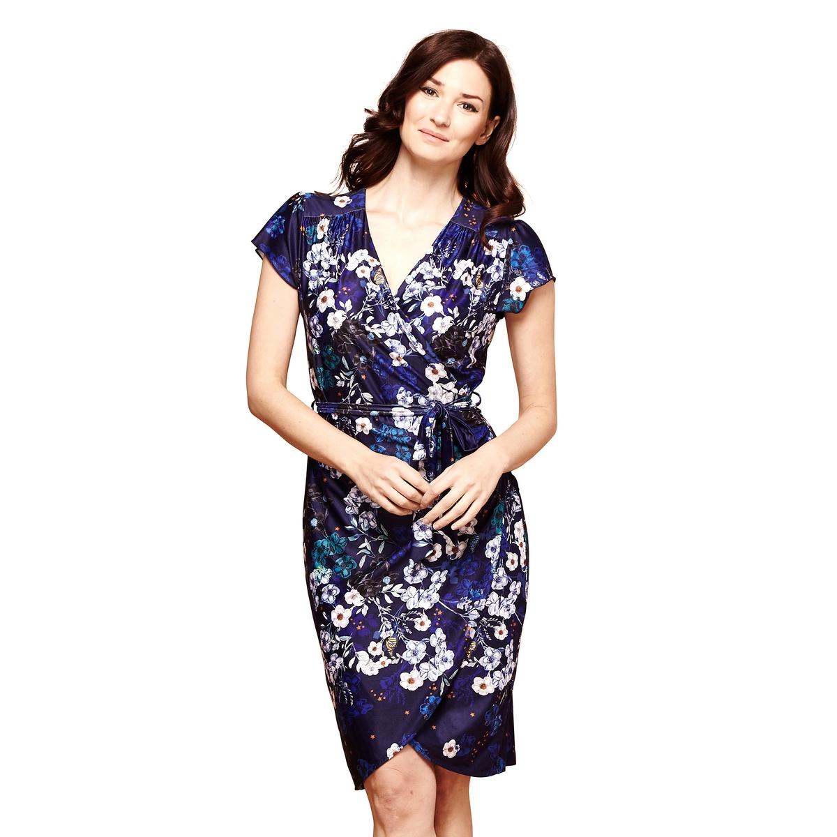 Платье прямое с цветочным принтом