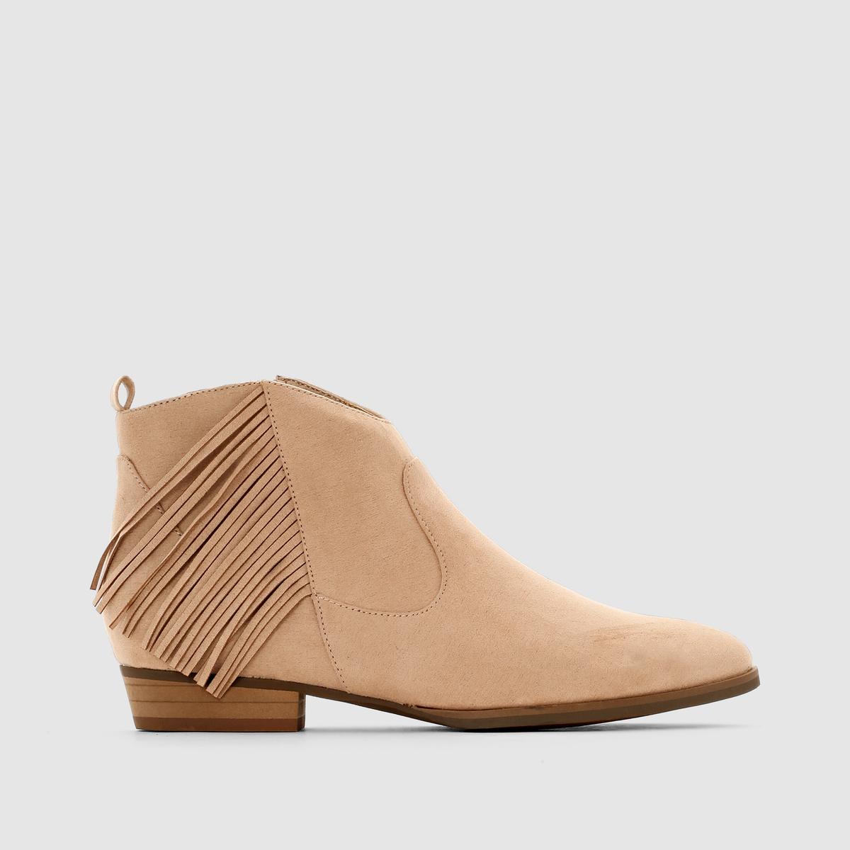 Ботинки в стиле вестернЛегкий намек на стиль вестерн благодаря отрезным деталям на щиколотке и бахроме по бокам.<br><br>Цвет: телесный<br>Размер: 41