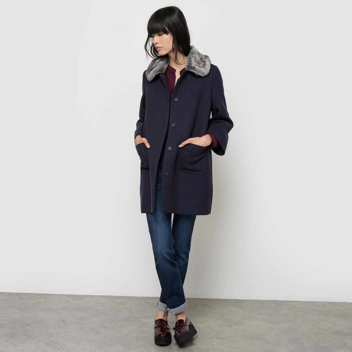 Пальто из шерстяного драпаСостав и описаниеМарка : See U SoonМатериалы : Пальто 64% полиэстера, 34% вискозы, 2% эластана - Подкладка 100% полиэстера - Наполнитель 100% полиэстераУходСледуйте рекомендациям по уходу, указанным на этикетке<br><br>Цвет: темно-синий<br>Размер: XS