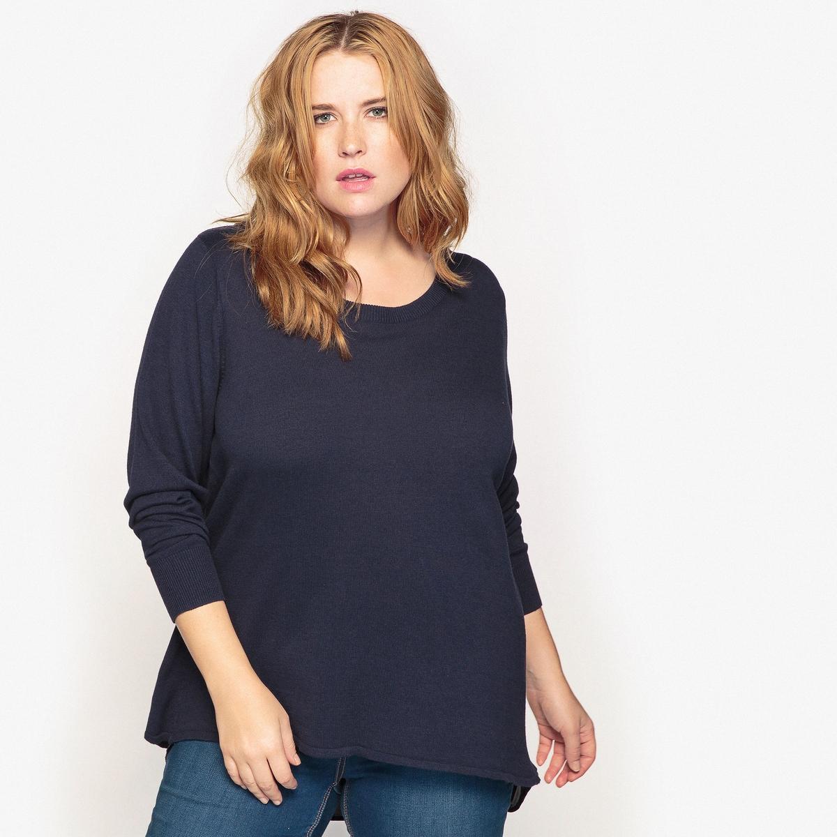 Пуловер с фантазийной  спинкойОписание:Очень изящный пуловер с круглым вырезом и оригинальной спинкой. Однотонный пуловер подойдет к образу в любом стиле. Пуловер быстро станет незаменимым в вашем гардеробе.Детали •  Длинные рукава •  Круглый вырез •  Тонкий трикотажСостав и уход •  60% вискозы, 40% хлопка •  Температура стирки 40° на деликатном режиме   •  Сухая чистка и отбеливание запрещены    •  Не использовать барабанную сушку   •  Низкая температура глажки  Товар из коллекции больших размеров<br><br>Цвет: синий морской,черный<br>Размер: 46/48 (FR) - 52/54 (RUS).50/52 (FR) - 56/58 (RUS)