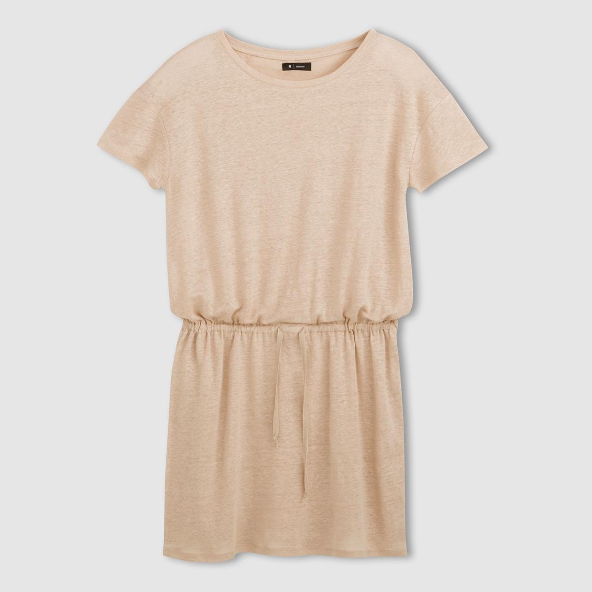 Платье из льна с круглым вырезом