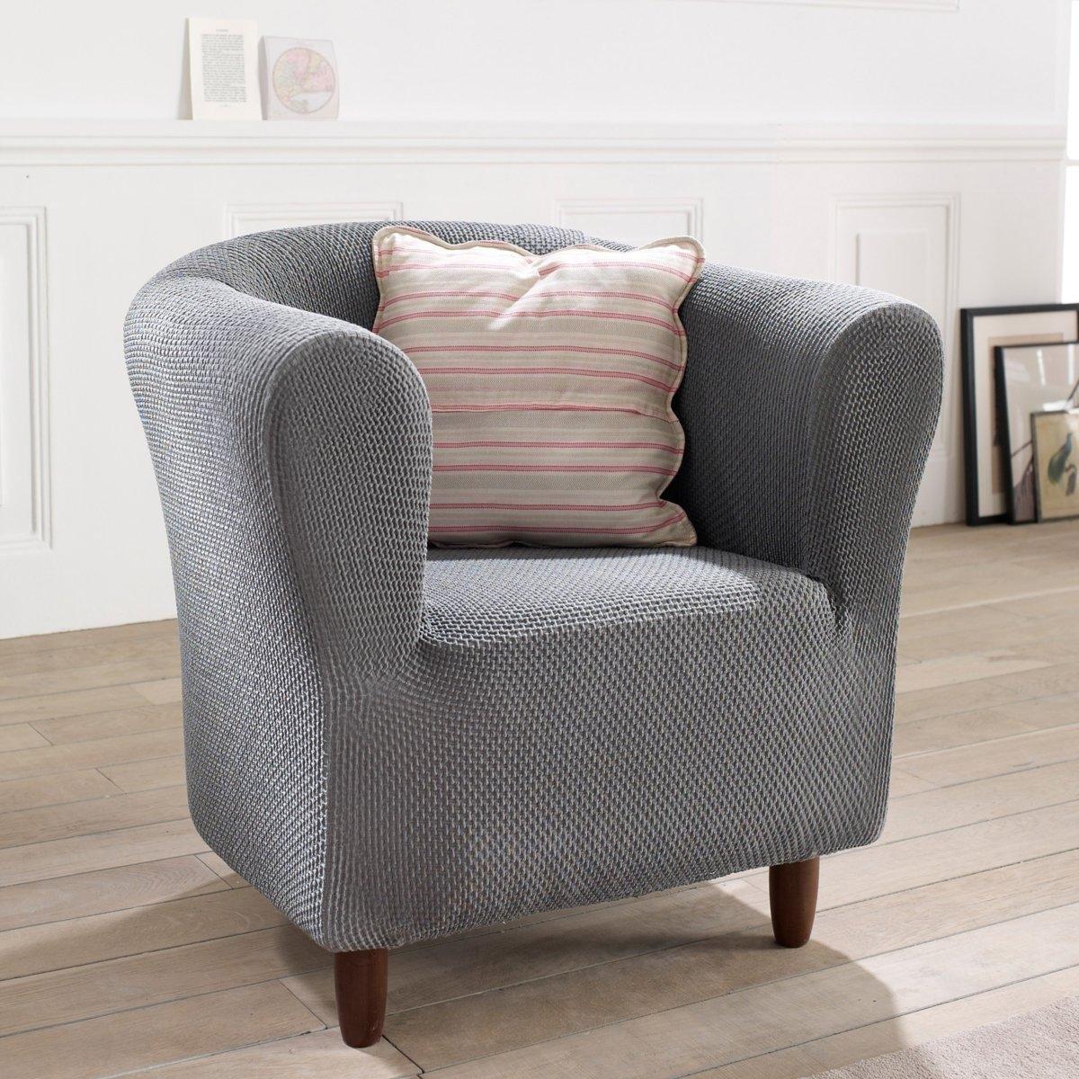 Чехол для креслаИз эластичной гофрированной ткани, 55% хлопка, 40% полиэстера, 5% эластана. Стирка при 30°. Эластичный низ.<br><br>Цвет: антрацит,красный,серо-коричневый каштан,серый<br>Размер: единый размер.единый размер