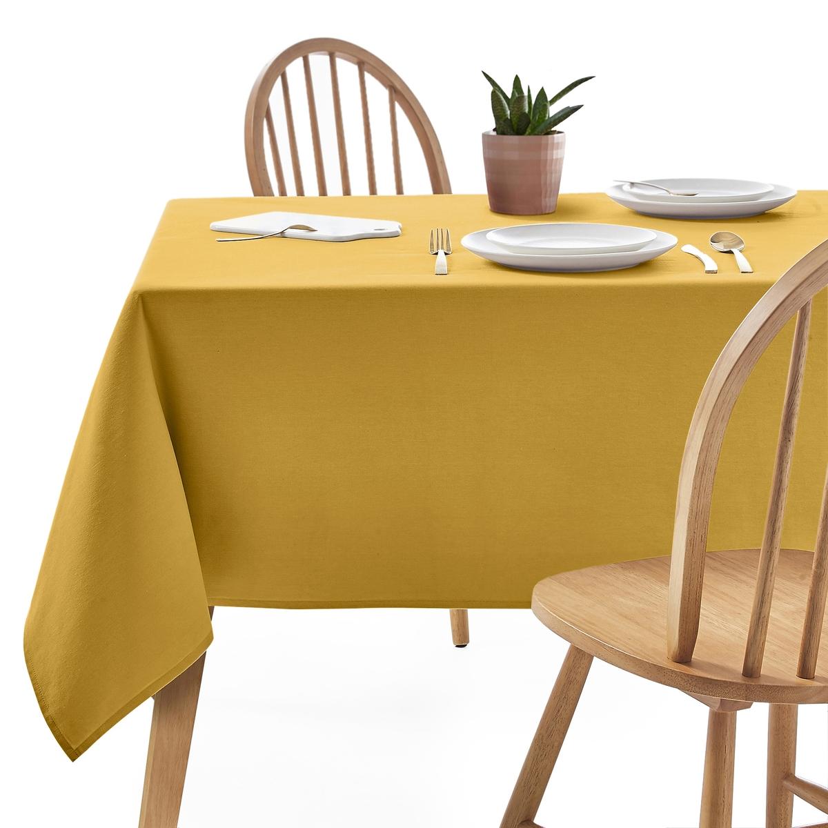Фото - Скатерть LaRedoute Из хлопка с пропиткой против пятен SCENARIO 150 x 200 см желтый скатерть laredoute с принтом и пропиткой 100 хлопок irun 150 x 250 см желтый