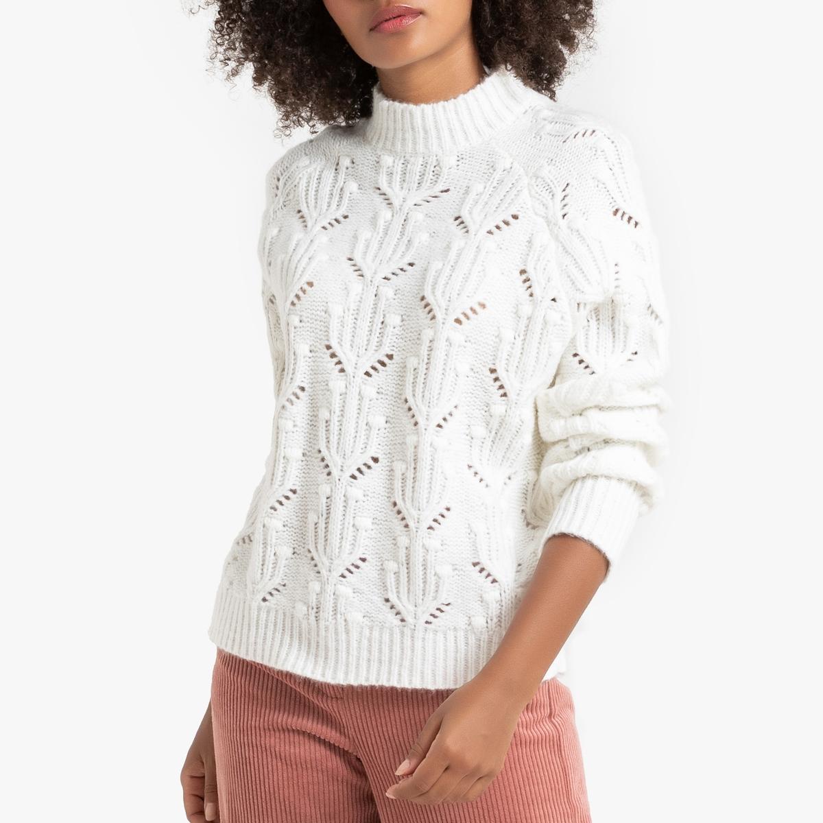 Пуловер La Redoute С воротником-стойка из плотного трикотажа M белый цена и фото