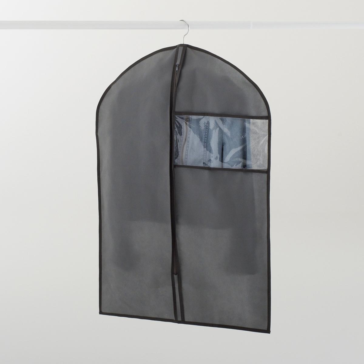 Комплект из 2 нетканых чехлов для куртокКачество VALEUR S?RE материала, сверхустойчивого к разрыву.ХАРАКТЕРИСТИКИ ЧЕХЛА:Нетканый материал: на основе дышащего синтетического волокна.Бежевого цвета.ОПИСАНИЕ ЧЕХЛА :Надевается на вешалку-плечики (1 шт.).Прозрачная вставка.Застежка на молнию.Размеры:Ширина 60 см.Высота 84 смКомплект из 2 чехлов.<br><br>Цвет: серый