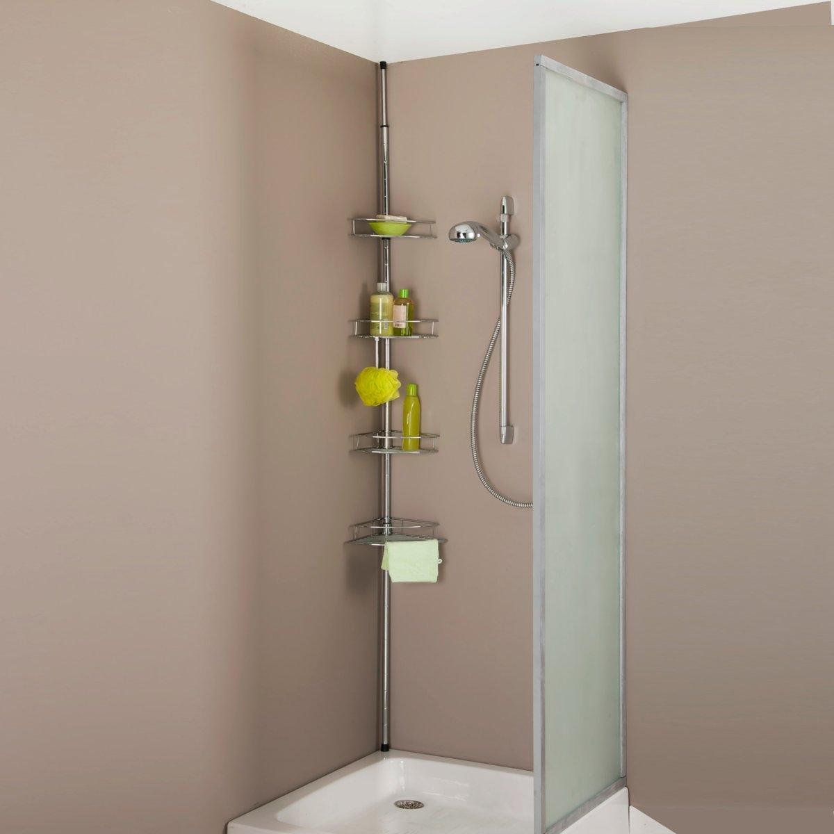 Этажерка угловая раздвижная для ванны или душаЭтажерка угловая раздвижная для ванны, раздвижная от пола до потолка на 150 -250 см, она легко впишется в габаритные размеры и устанавливается в одно мгновение ока  .ОПИСАНИЕ  :        - Трубка из хромированного металла, которая крепится от пола до потолка с помощью пружинной системы  .     - Без шурупов и гвоздей  .     - 4 угловых полочки из пластика (dразмеры полочки   : 22 x 22 см).          Готова для установки с инструкцией.<br><br>Цвет: металл хромированный