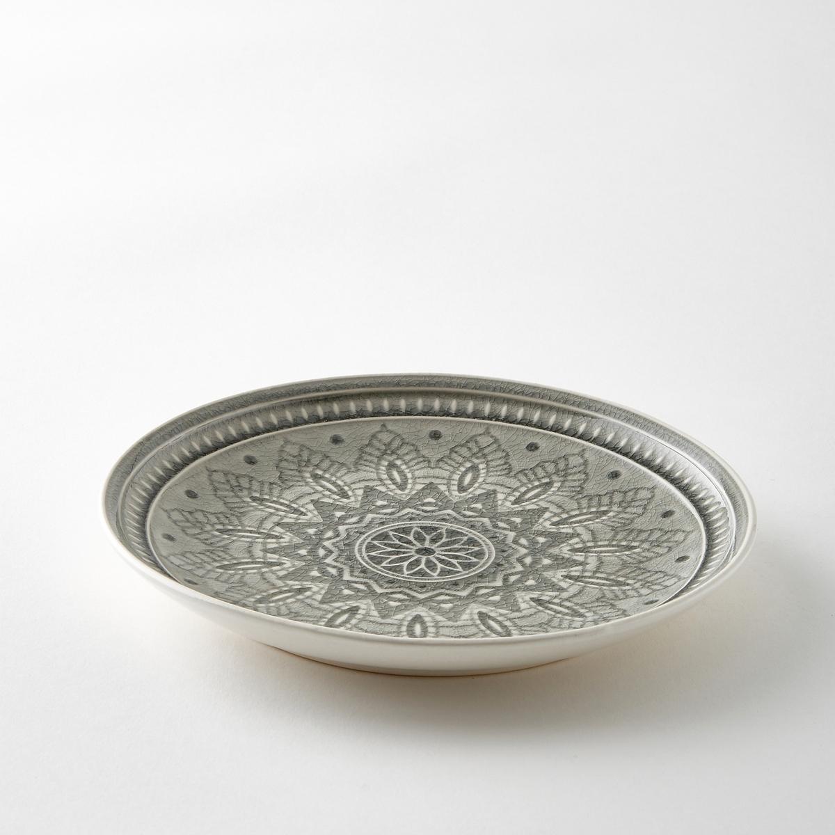 Комплект из 4 тарелок из керамики Nicolosi4 десертных тарелки Nicolosi. Из керамики с трещинами глазури. Рельефный рисунок. Подходит для посудомоечных машин. Размеры : диаметр 20,5 x высота 2,5 см.<br><br>Цвет: серый