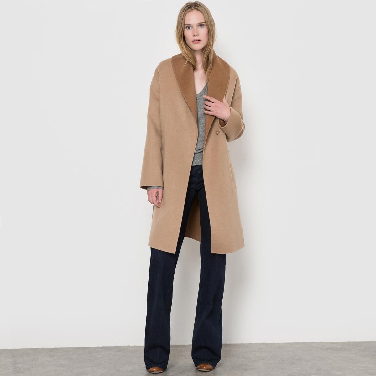 Пальто двухцветное с поясом, 70% шерсти пальто двухцветное с поясом 70% шерсти