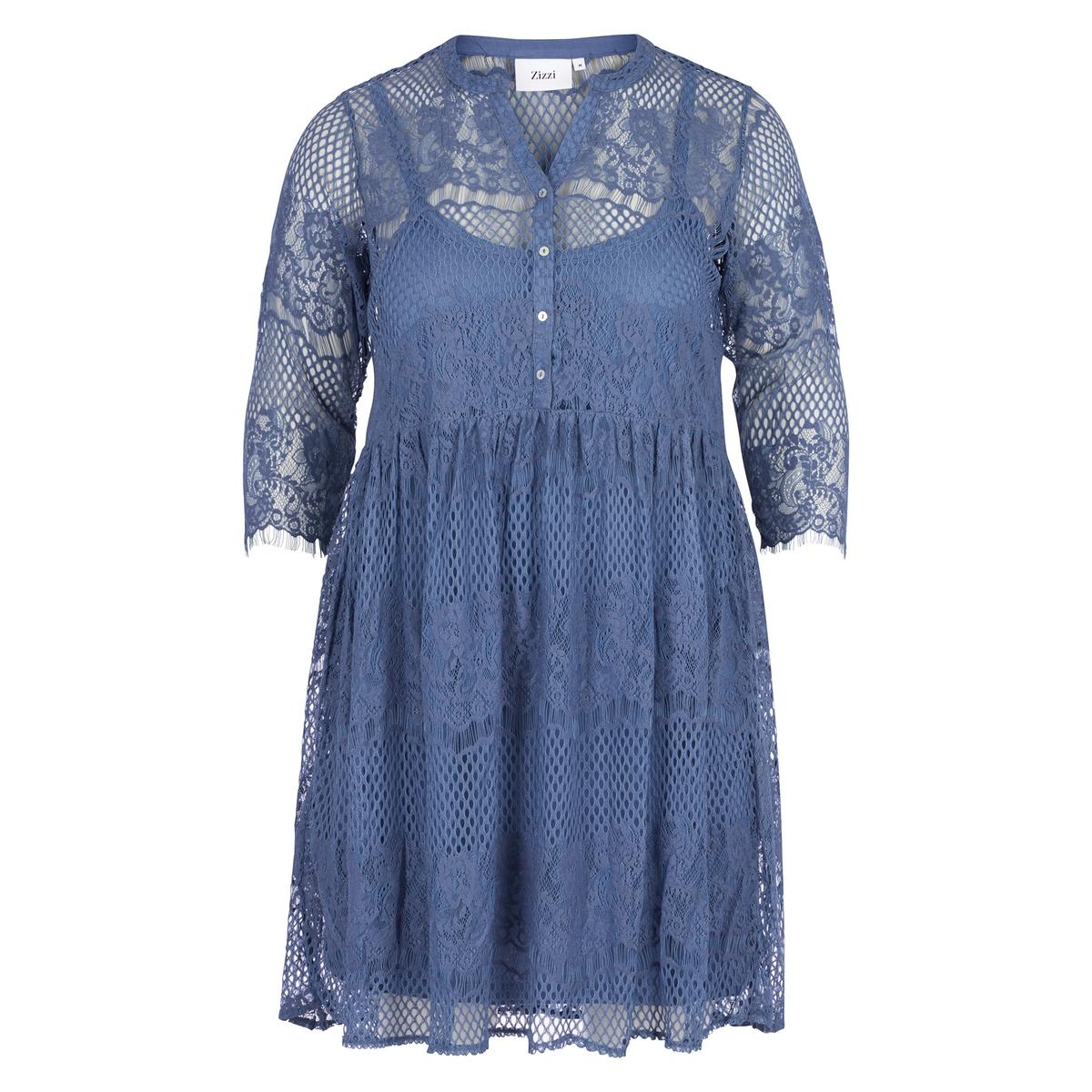 Платье расклешенное из кружева с круглым вырезом и рукавами 3/4 платье расклешенное с длинными рукавами и круглым вырезом