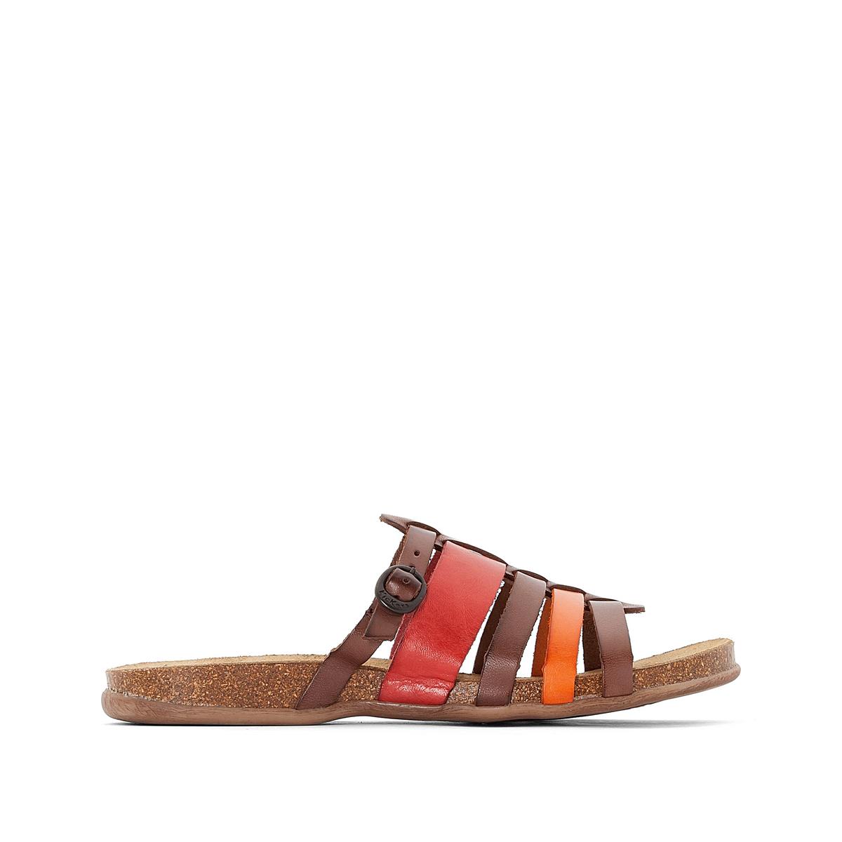 Босоножки кожаные AnaelleВерх: кожа.     Подкладка: без подкладки.Стелька: невыделанная кожа.Подошва: каучук.    Высота каблука: 2 см.    Форма каблука: плоский каблук.Мысок: открытый.Застежка: ремешок с пряжкой.<br><br>Цвет: разноцветный
