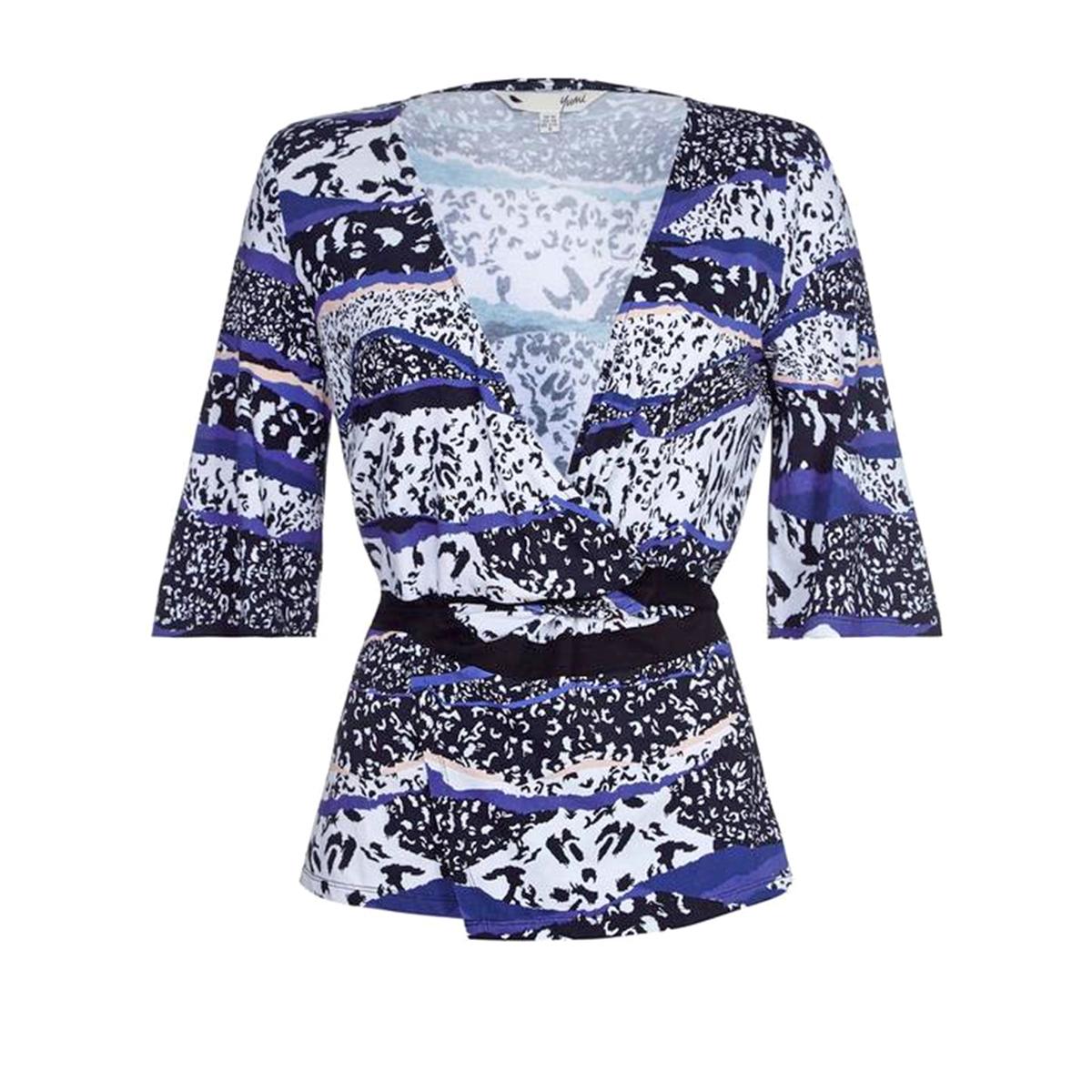 Блузка перекрестного покроя с принтом, рукава 3/4Материал : 95% вискозы, 5% эластана   Длина рукава : Рукава 3/4 Форма воротника : V-образный вырез Длина блузки : стандартная  Рисунок : принт<br><br>Цвет: рисунок темно-синий