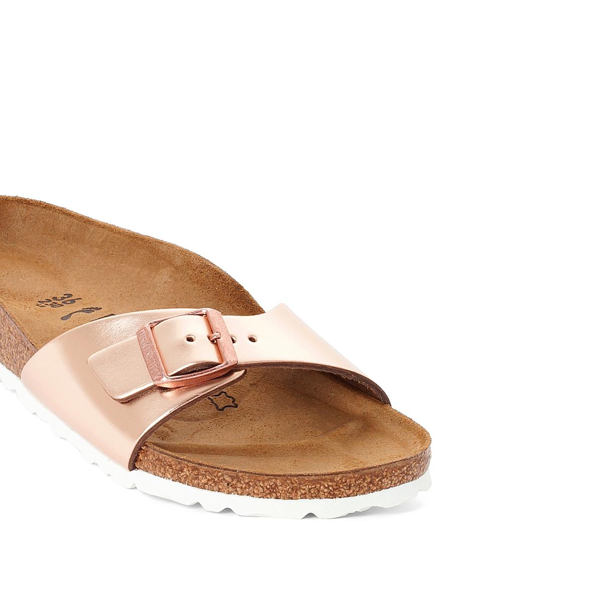 Туфли без задника синтетическиеДетали   •  Вьетнамки •  Застежка : без застежки •  Открытый мысокСостав и уход   •  Верх 100% синтетический материал •  Подкладка 100% текстиль •  Стелька 100% кожа •  Подошва 100% ЭВА<br><br>Цвет: розовый/золотистый<br>Размер: 37