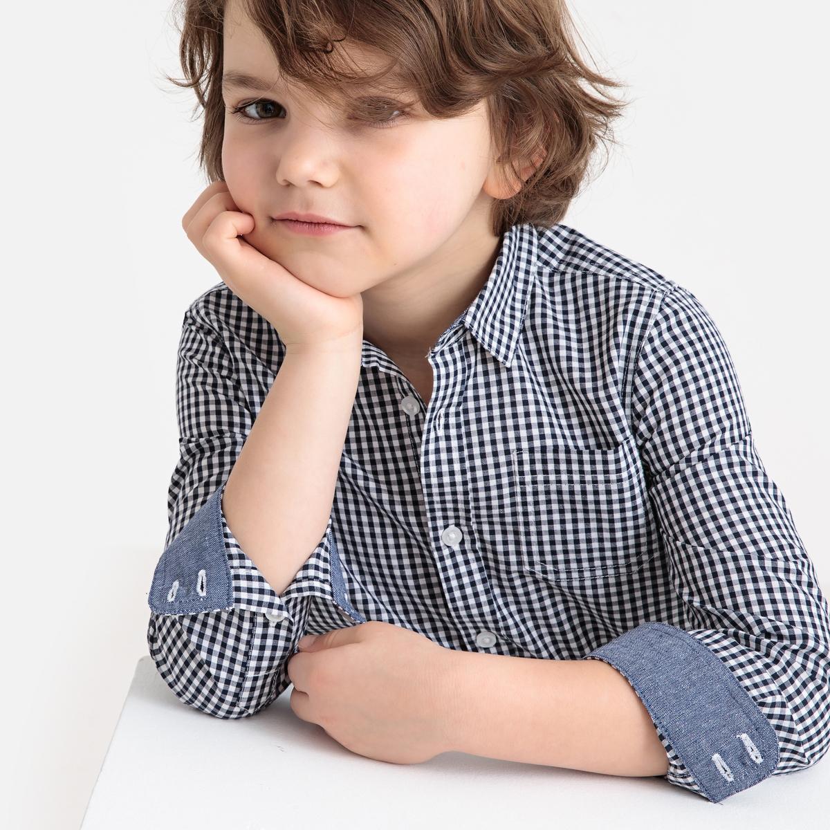 Рубашка LaRedoute В клетку с длинными рукавами 3-12 лет 5 лет - 108 см синий жакет la redoute из джинсовой ткани 3 14 лет 5 лет 108 см синий