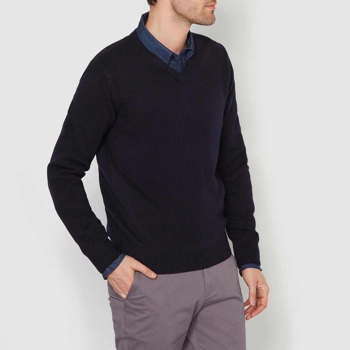 Пуловер с V-образным вырезом,  100% овечьей шерсти в минске жилет из овечьей шерсти
