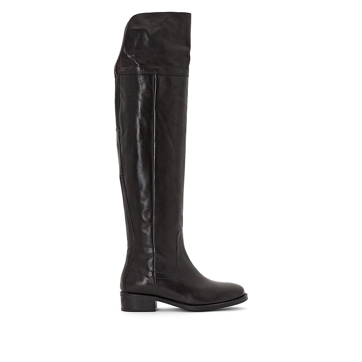 Сапоги кожаные ModaВерх/Голенище: Кожа.          Подкладка : Кожа.   Подошва : Эластомер    Высота голенища: 52 см   Высота каблука : 1 см.   Форма каблука : Плоский каблук   Мысок : Закругленный   Застежка : без застежки<br><br>Цвет: черный<br>Размер: 37