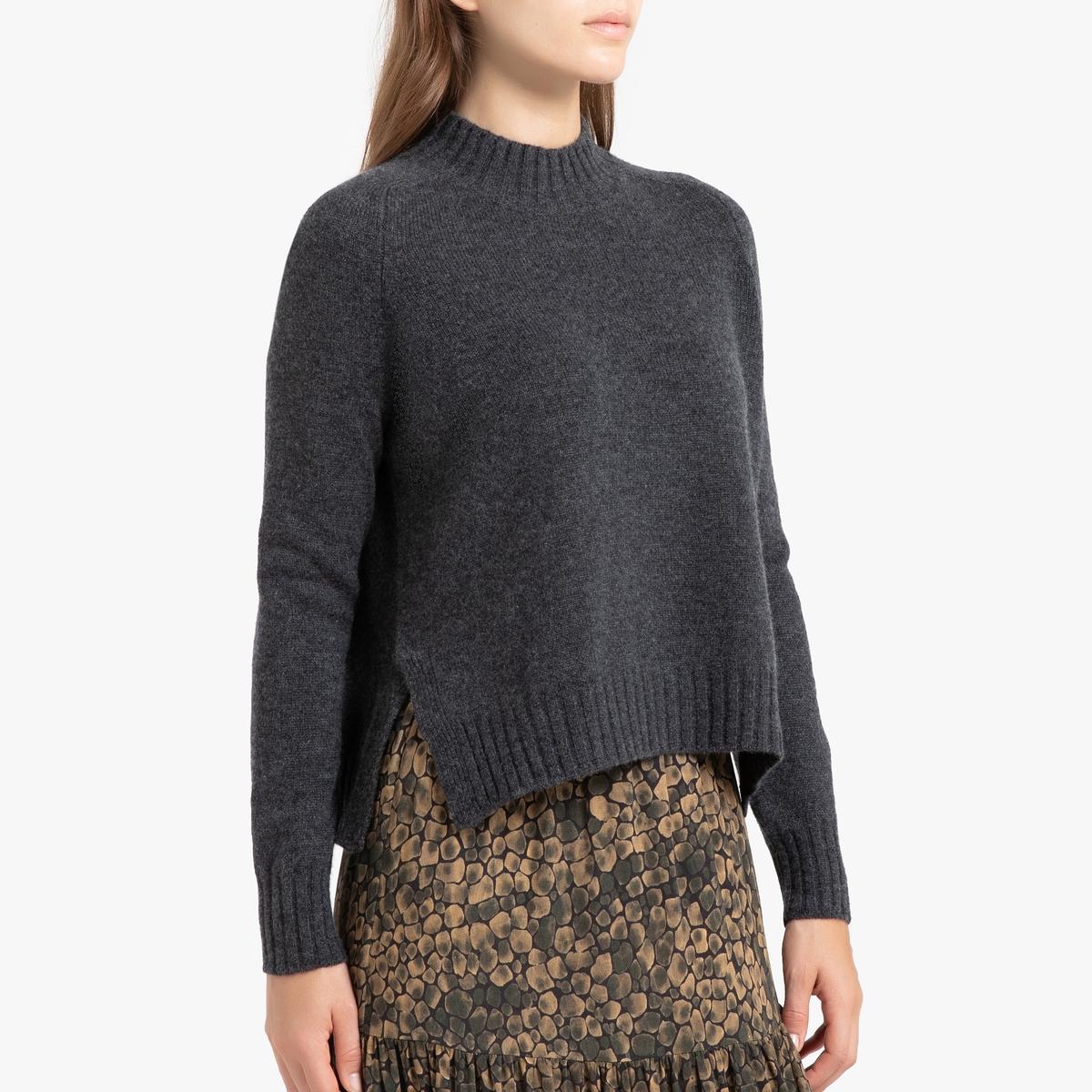 цена на Пуловер La Redoute Кашемировый с воротником-стойка из тонкого трикотажа LEONIE 3(L) серый
