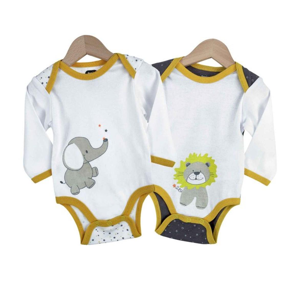 Body bébé garçon - Éléphant et lion x2