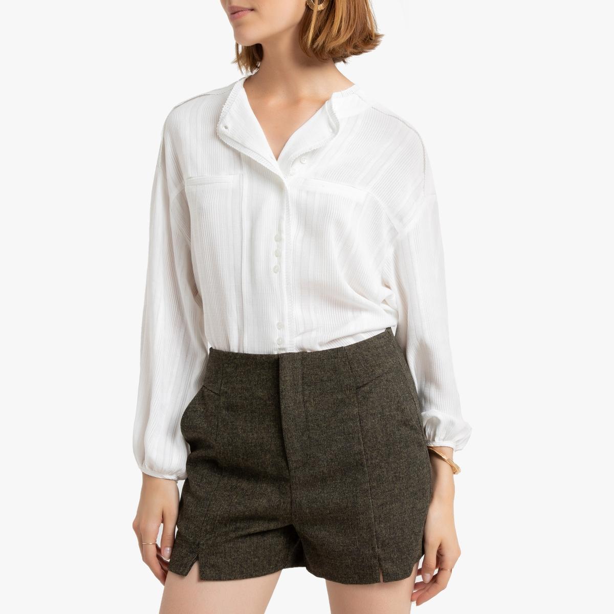Рубашка La Redoute С длинными рукавами с вышивкой 2(M) бежевый платье с длинными рукавами с вышивкой