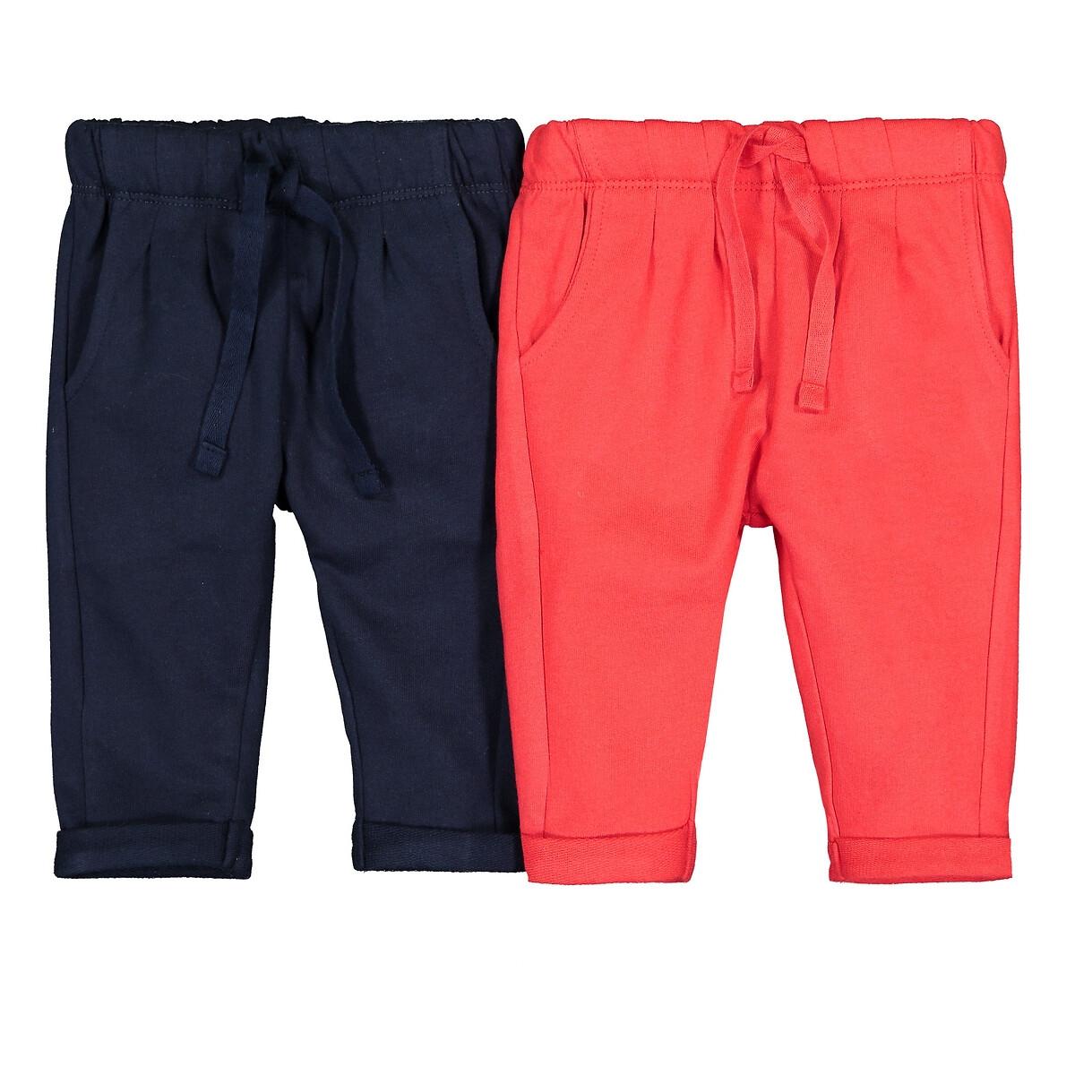 Комплект из 2 штанишек из LaRedoute Мольтона 1 мес-4 лет 1 мес. - 54 см красный брюки laredoute из мольтона с бантом 1 мес 3 года 9 мес 71 см розовый