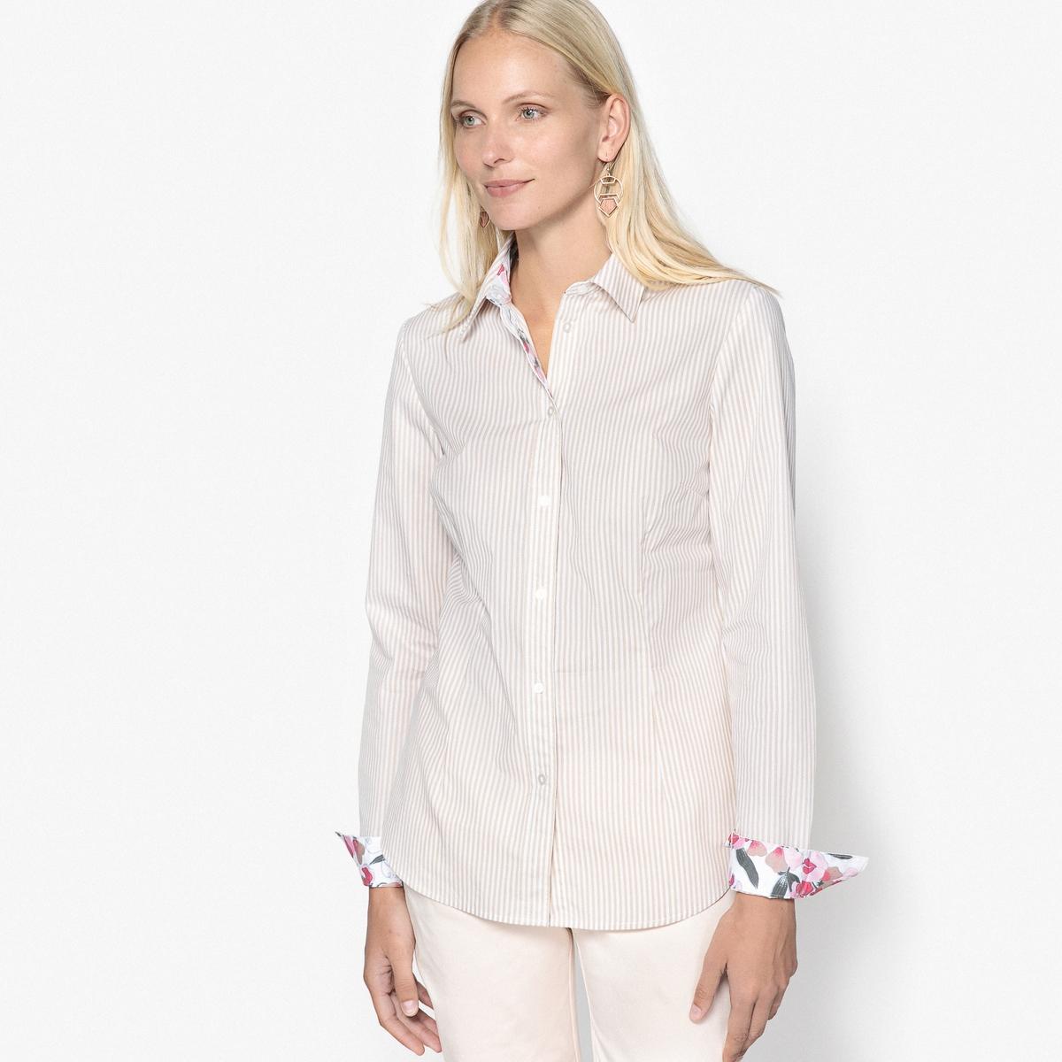 Блузка с рубашечным воротником и рисунком в полоску из окрашенных волокон