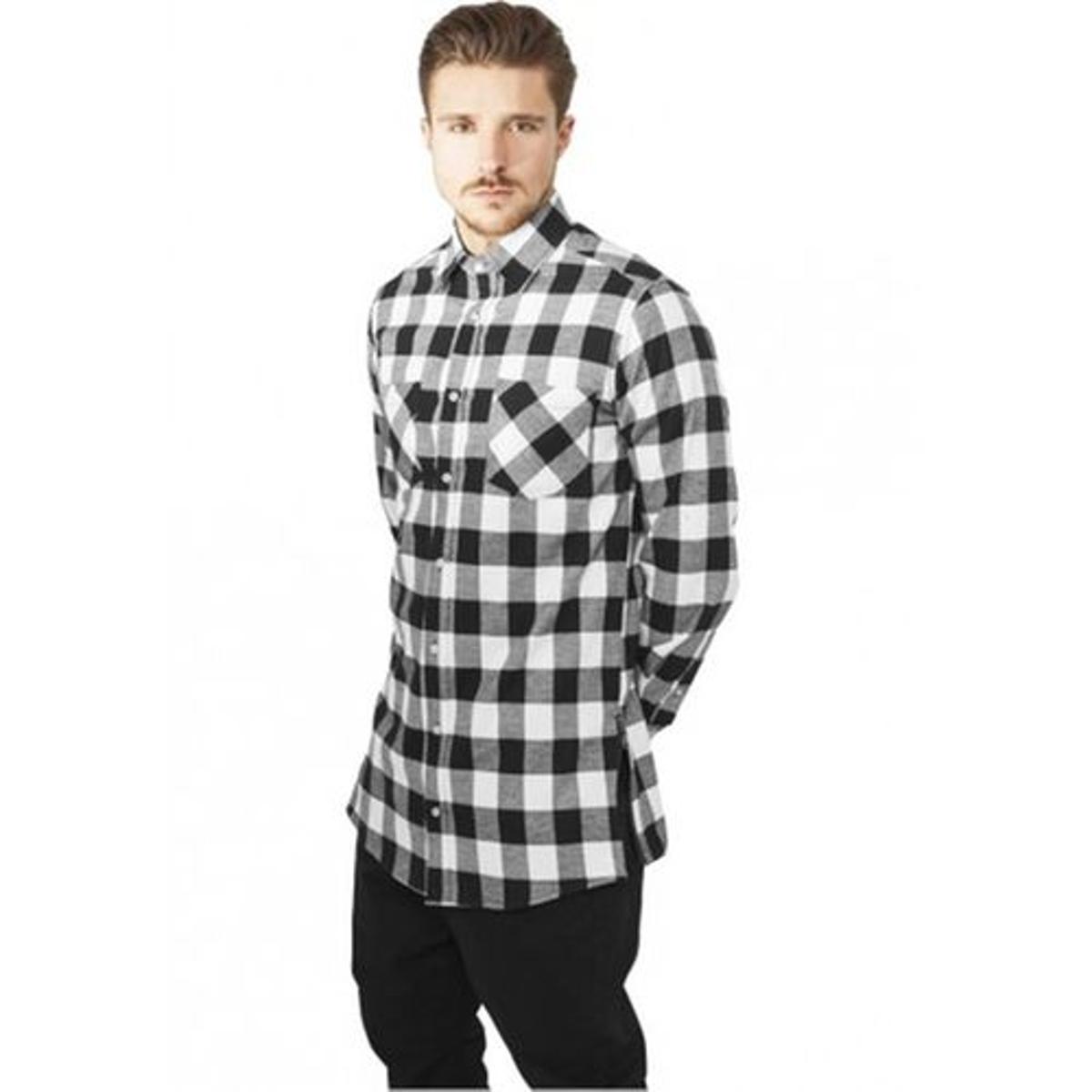 Chemise longue à carreaux avec zip