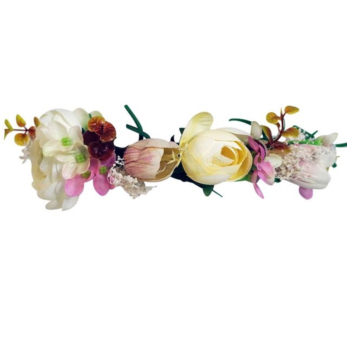 Couronne de fleurs serre tete rose