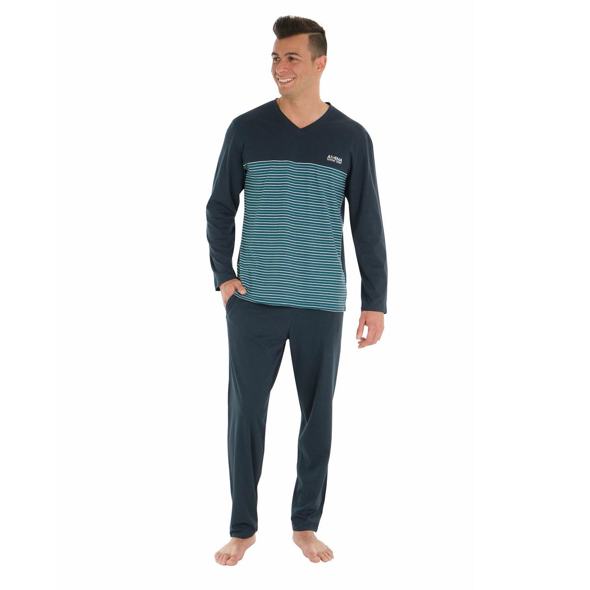 Пижама длинная из однотонной хлопковой ткани и в полоску футболка в полоску