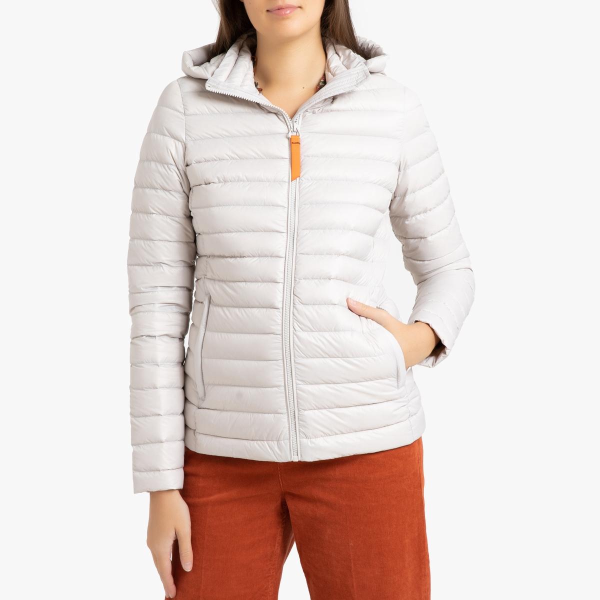 цена Куртка La Redoute Стеганая короткая с капюшоном FRANCINE MAT 4(XL) белый в интернет-магазинах