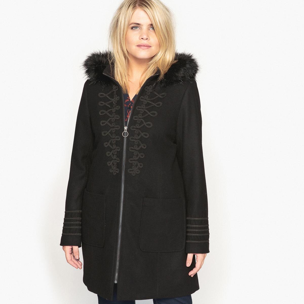Пальто с капюшоном из искусственного меха цена