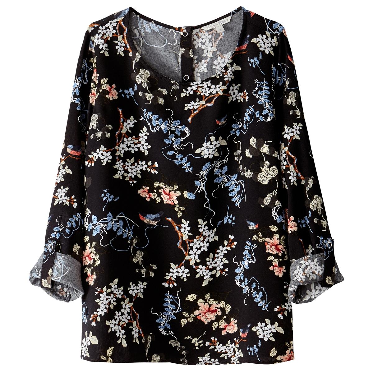 Блузка с круглым вырезом, цветочным рисунком и длинными рукавами tom tailor блузка tom tailor 203140400752647
