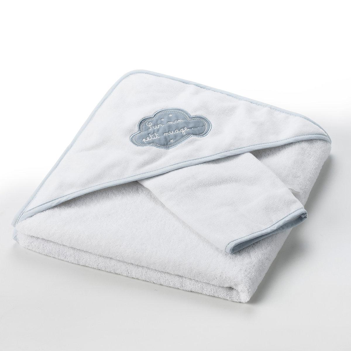 Накидка банная + рукавичка банная В облаках 400 г/м², 100% хлопка
