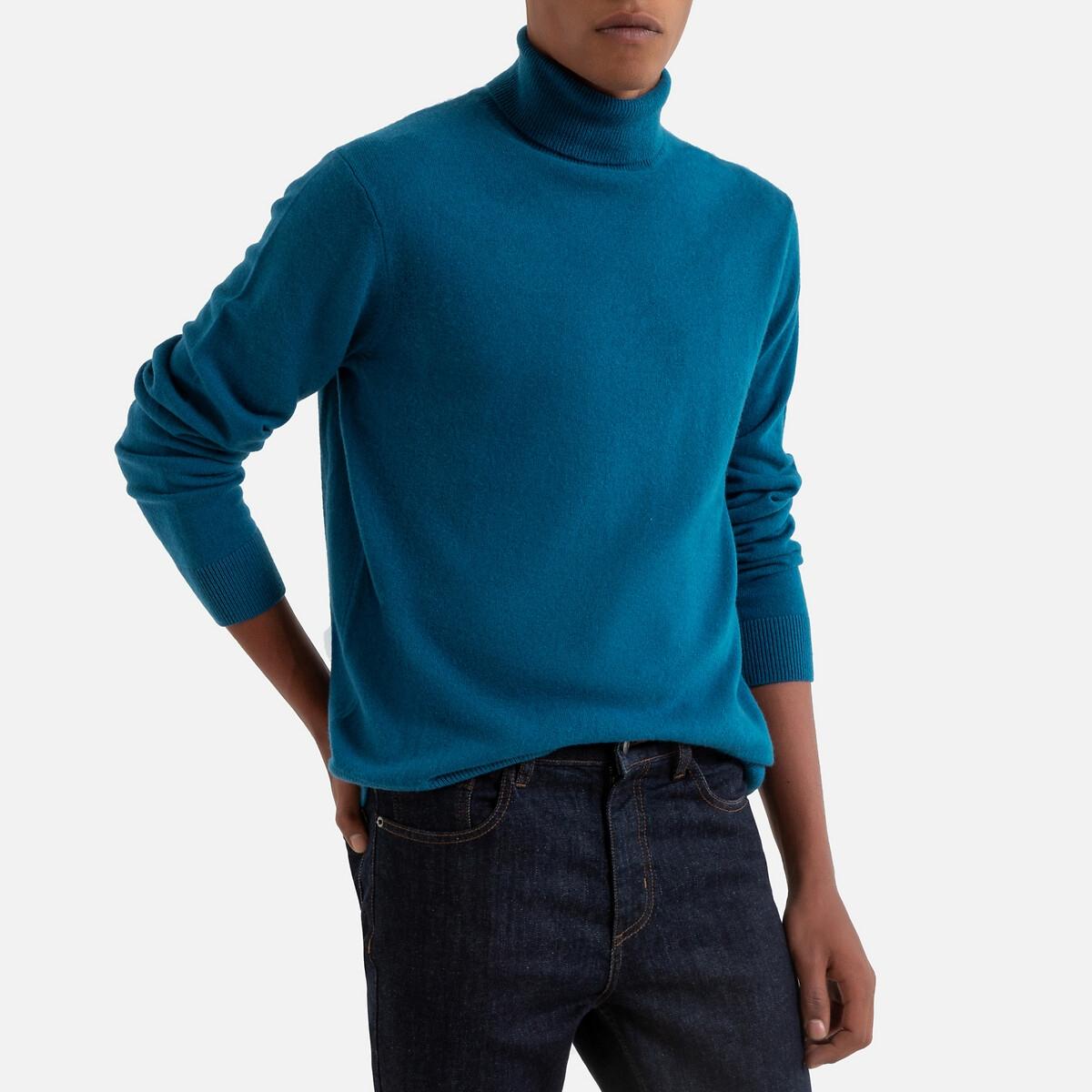 Пуловер LaRedoute С отворачивающимся воротником из кашемира Paul S синий