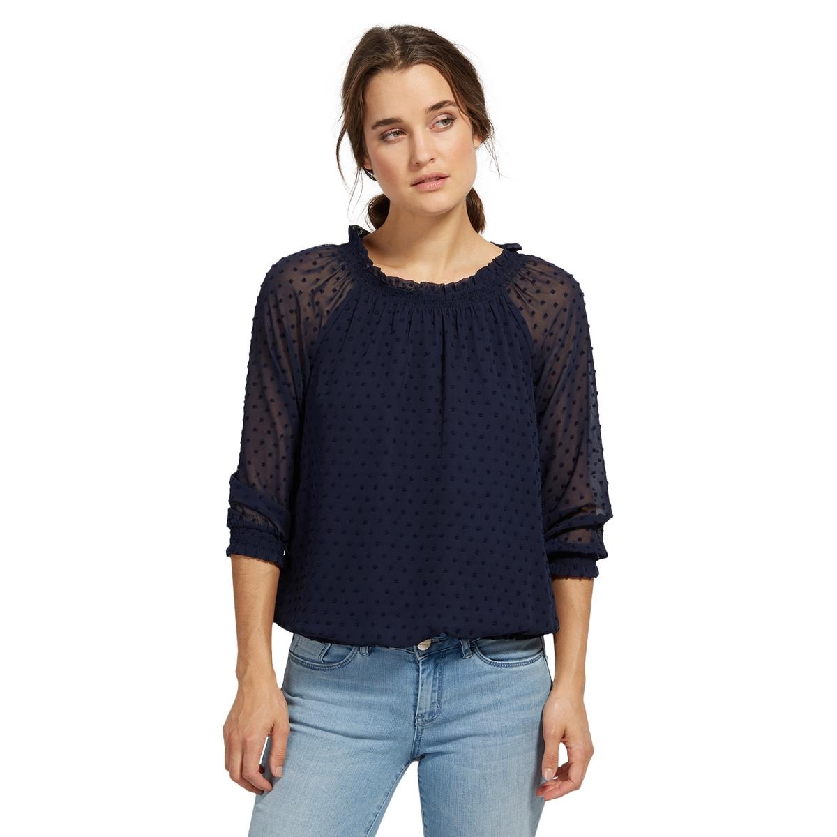 Блузка в горох с круглым вырезом и длинными рукавами tom tailor блузка tom tailor 203140400752647