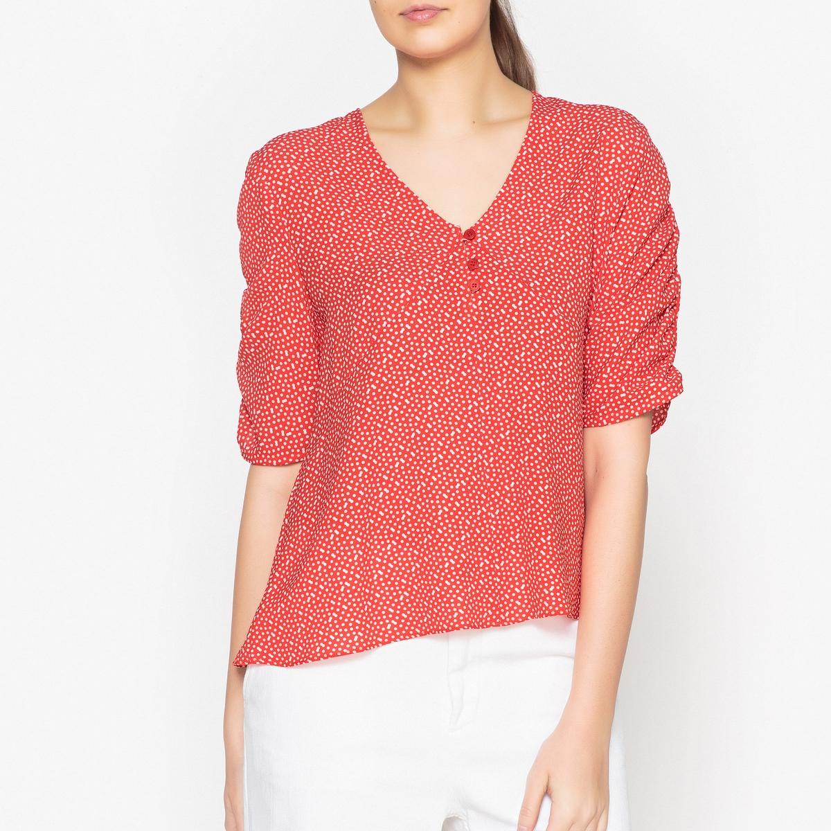 Блузка La Redoute С рисунком V-образным вырезом и короткими рукавами PLAGIAT XS красный недорого
