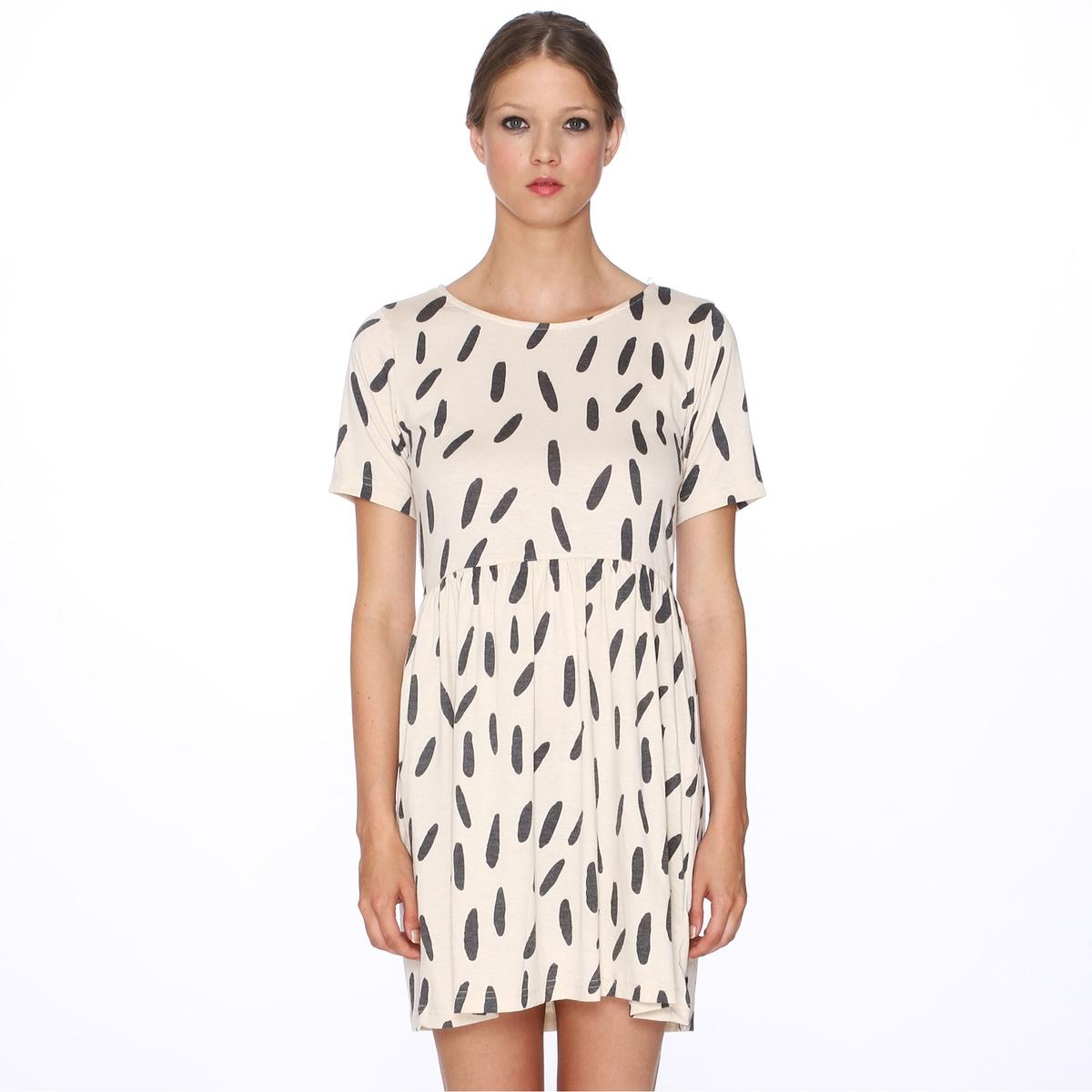 Платье с короткими рукавами, с рисунком PEPALOVES, Dress Black RiceСостав и описание :Материал : 60% полиэстера, 35% рэйона, 5% эластанаМарка : PEPALOVES<br><br>Цвет: принт/бежевый<br>Размер: S
