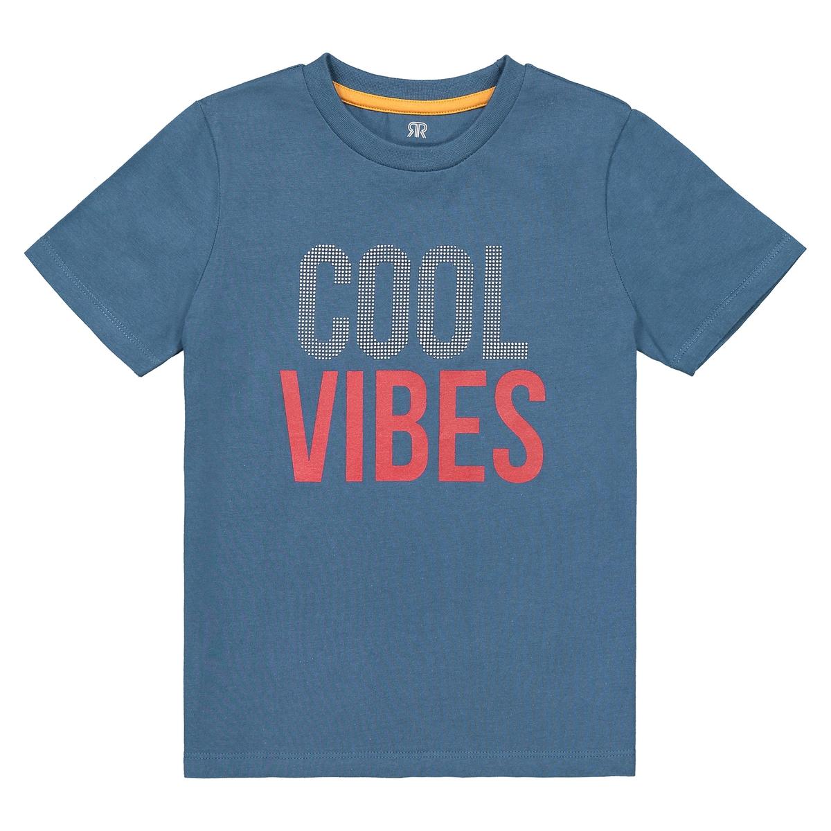 T-shirt de gola redonda, mensagem estampada à frente, 3-12 anos