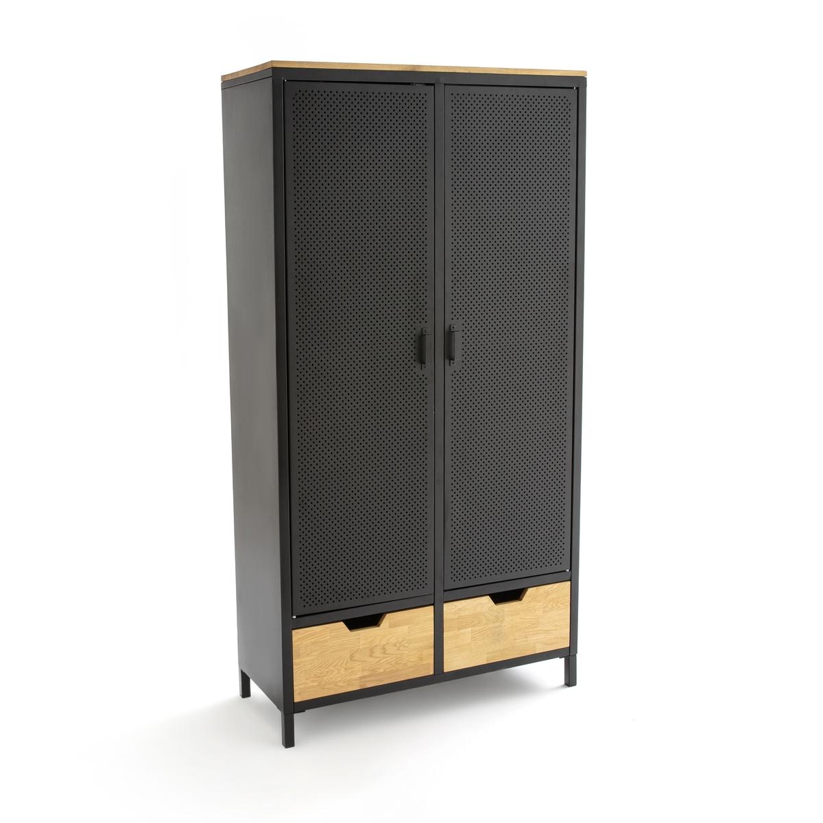 Шкаф с 2 дверцами из металла и дуба AGAMA