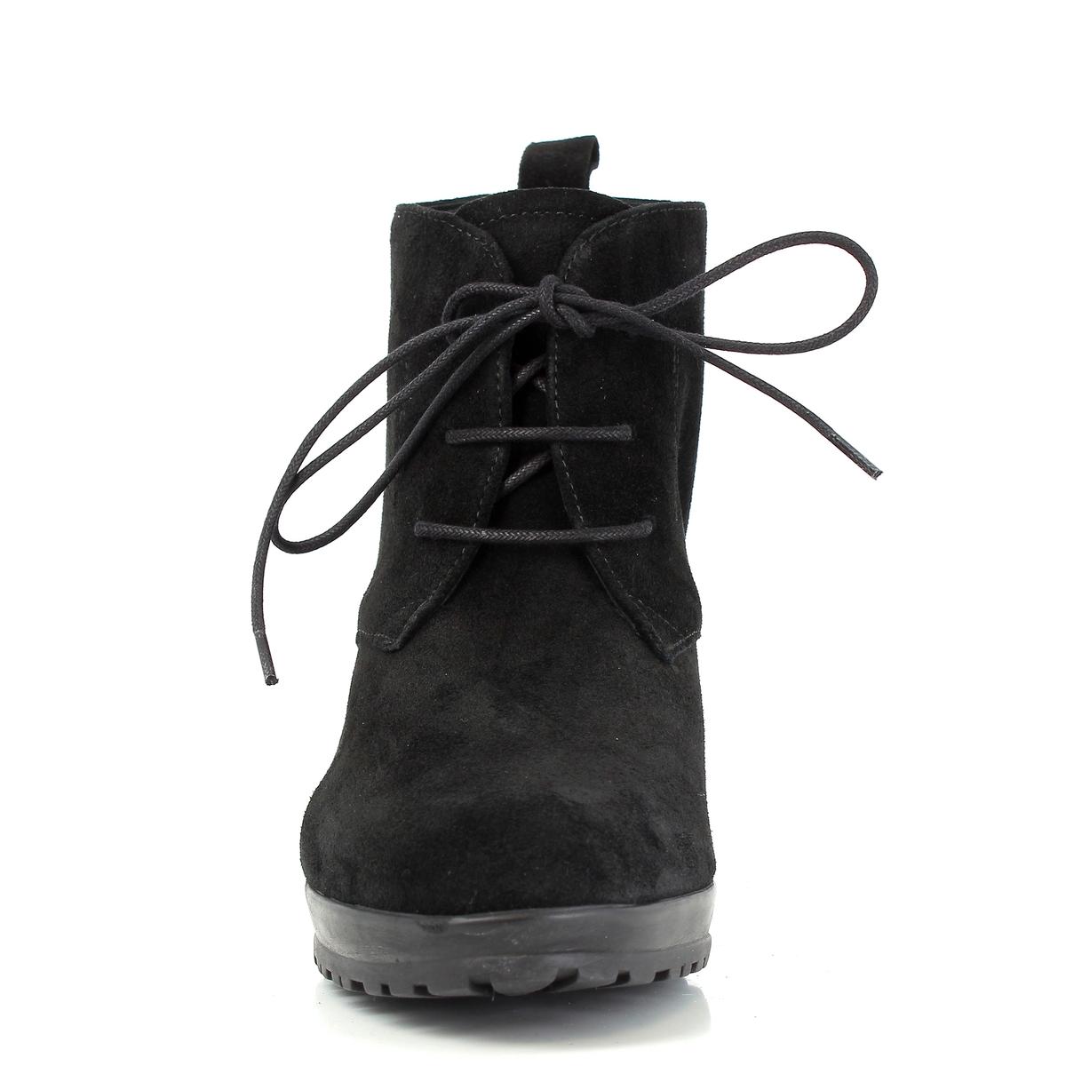 Ботильоны кожаные на шнуровке, SIGURВерх/ Голенище: Кожа (рогатого скота).     Подкладка: Кожа и текстиль.          Стелька: Кожа.Подошва: Синтетический материал.                            Высота каблука: 8,7 см.  Высота голенища: 17 см. Форма каблука: Широкая.   Мысок: Круглый.        Застежка: Шнуровка.<br><br>Цвет: черный<br>Размер: 39.37