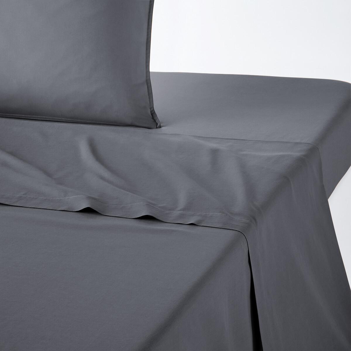 Фото - Простыня LaRedoute Однотонная из 100 стираного хлопка Scenario 150 x 250 см черный покрывало laredoute стеганое из 100 хлопка scenario 230 x 250 см белый