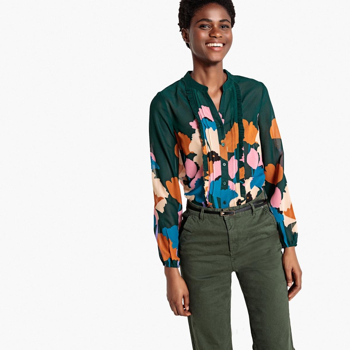 Camisa con cuello mao, estampado de flores y pequeños volantes