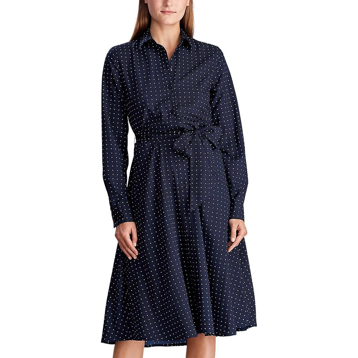 Платье-рубашка LaRedoute В горошек с длинными рукавами 36 (FR) - 42 (RUS) синий платье la redoute расклешенное короткое с длинными рукавами 46 fr 52 rus синий