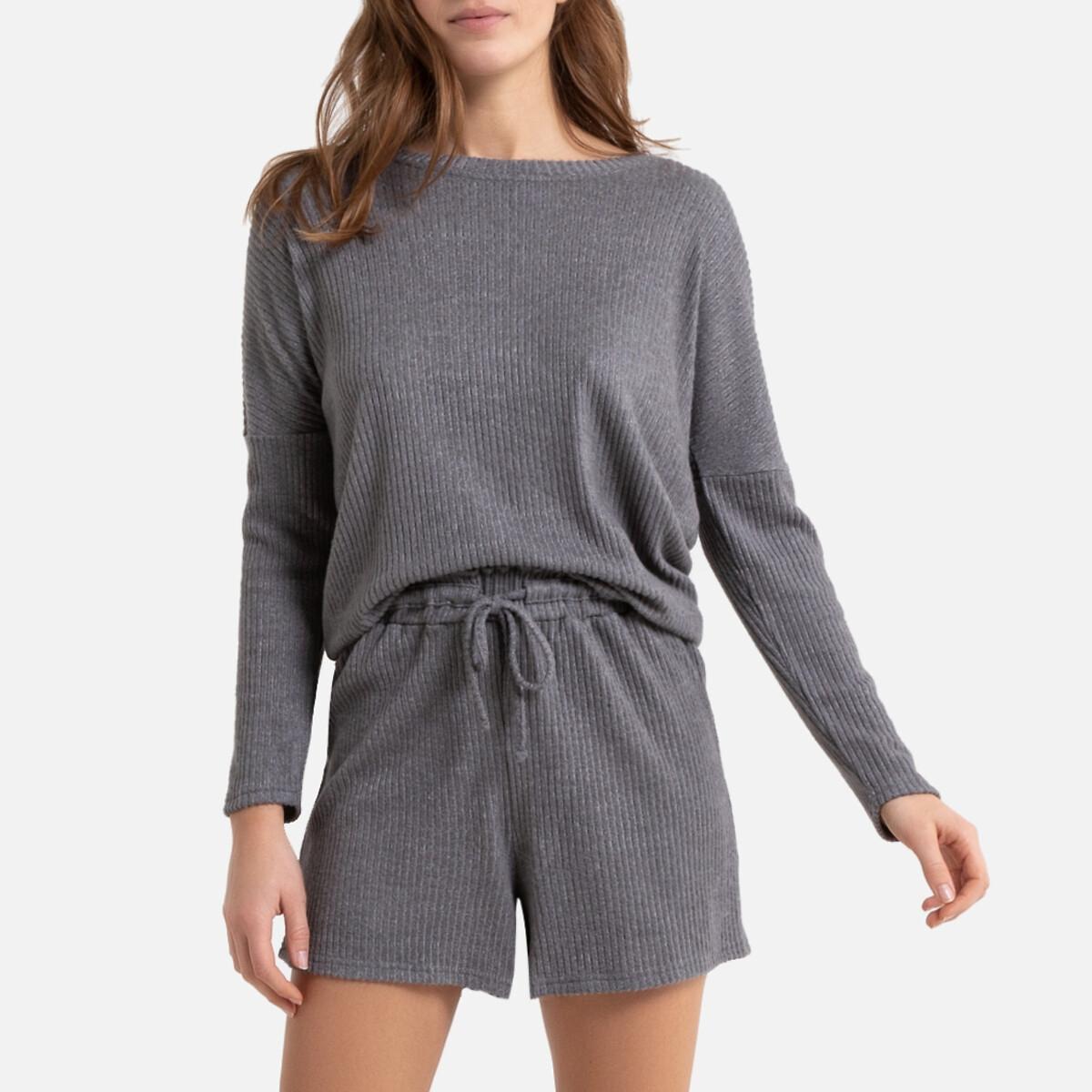 Pijama con short homewear de punto de canalé