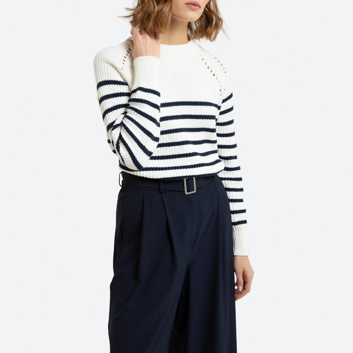 Jersey de estilo marinero con cuello redondo de punto grueso