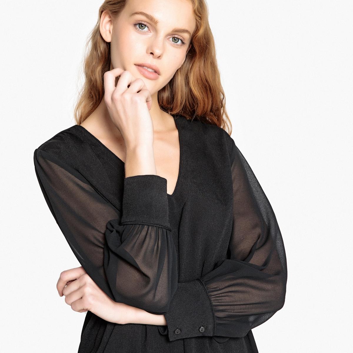Блузка с v-образным вырезом и длинными прозрачными рукавами футболка базовая с u образным вырезом